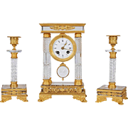 French Gilt Bronze and Crystal Glass Clock Set Garniture with Candlesticks