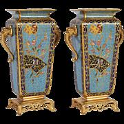 Pair of French Japonisme Bronze Ormolu and Champlevé Cloisonné Enamel Vases
