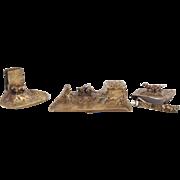 French Art Nouveau Bronze Dachshund Desk Set, Cigar Cutter Inkwell Signed (4pcs)