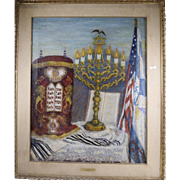 "Rose P. Acron, Still Life of Judaica Oil on Canvas Painting ""Hope of Israel"""