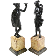 Pair of Antique Classical Bronze Sculptures on Italian Marble Bases