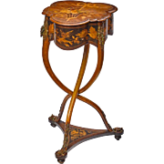 French Art Nouveau Bronze Marquetry Inlaid Table Charles-Guillaume Diehl