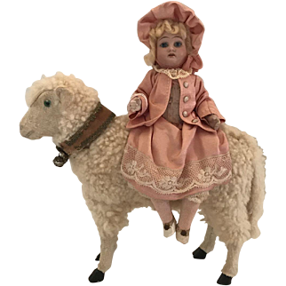 "9 1/2"" Long and 12"" Tall -  Antique Sheep Candy Container with  German Bisque Head Girl Sitting On Sheep"