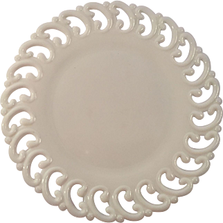 Backward C Lace Edge Milk Glass Dessert Plate By  E.L Smith