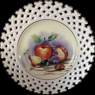 Hand painted milk glass fruit plate. Open lattice edge Occupied Japan Celebrate