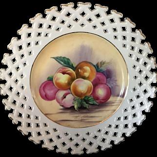 Hand Painted Open Lattice Edge Milk Glass Fruit Plate.
