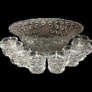 "Mt.Vernon Pattern Crystal Punch Bowl Set of 9 pc. by Cambridge. Depression era ""criss cross diamonds"""