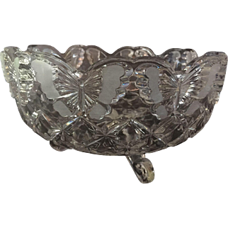Hofbauer Papillion Pressed Lead Glass Satin Etched Cut  Crystal Footed Bowl. German Butterfly