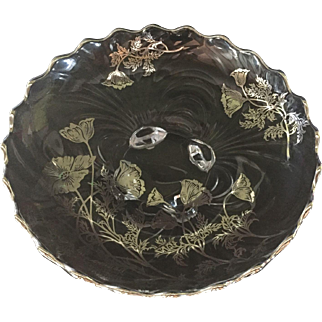 """Cambridge """"Caprice"""" Pattern  Shallow Bowl with Silver Overlay """"Flanders Poppy"""".   #81"""