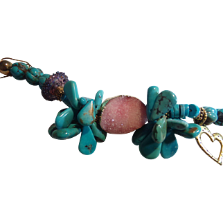 Turquoise Bracelet with Pink Druzy Focal Piece
