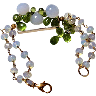 Chalcedony and Peridot Bracelet In a Unusual Setting