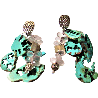 Recycled SlabTurquoise and Rose Quartz Clip Earrings