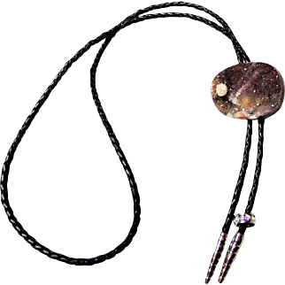Bolo Necklace featuring a  Multi-Colored Druzy Specimen on Dark Brown Leather Cord