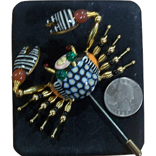 Vintage CYNTHIA CHUANG - Jewelry 10 - Beach Crab Stick Pin Broach / Signed
