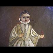 Agapito-Labious-Vintage-Antique-Mexican-Oil-Painting-Folk-Art-Child
