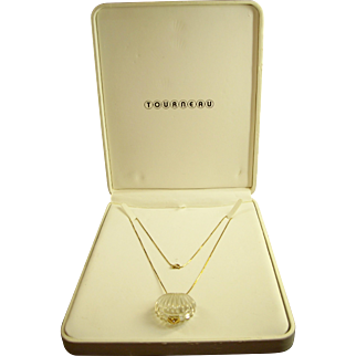 14k Gold & Crystal Clam Shell Necklace by Tourneau