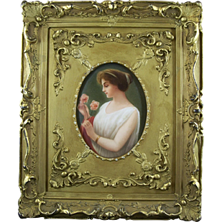 Victorian Hand painted porcelain Portrait Plaque - Lady in gilded wood frame - Signed Wagner