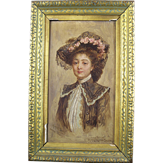 Oil on Wood Panel by Herbert Sydney - Dated 1903 - Portrait of Mrs Milton Snyder