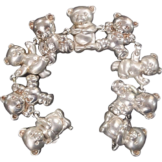 Vintage Sterling Silver Bracelet with 9 Teddy Bears - Patented