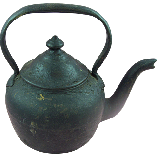 Antique 19th Century Cast Iron goose neck teapot or kettle - Small Size