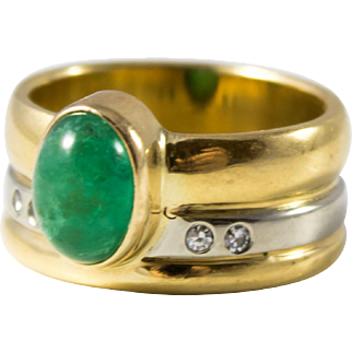 18k Gold and Platinum Ring with Imperial Jade & Diamonds, Custom Beauty.