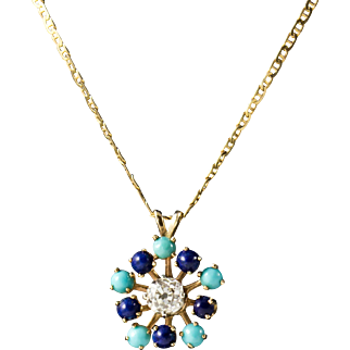 Antique 14K Diamond Necklace with Lapis and Turquoise, with Appraisal, Lovely.