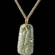 Vintage 14k Gold Necklace with 14K Gold & Jadeite Pendant