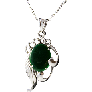 14k Solid White Gold Vintage T. Y. Lee Necklace and Jadeite Pendant, Hong Kong