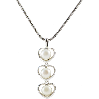 Vintage 18K White Gold Necklace Chain with 14k Na Hoku Cultured Pearl Pendant