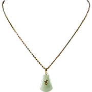 Vintage 14k Tri-Colored Gold Necklace with Jadeite Pendent