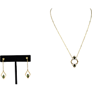 18K Solid Yellow Gold & Chrome Tourmaline Vintage Necklace & Dangle Earring Set.