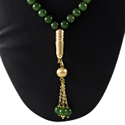 1940's 18k Jade Beaded Necklace with Appraisal