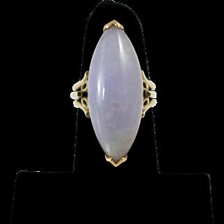 14K Solid Gold & Lavender Jadeite Ring, HUGE Beauty!!! Art Deco Handmade Sz 7.5
