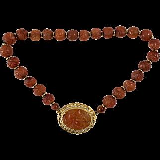 14K Gold Vintage Hand Carved Carnelian Necklace, Stunning.