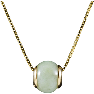 14k Gold Necklace with Jade Barrel Charm