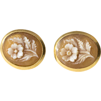 Antique Italian 18k Gold Cameo Floral Earrings