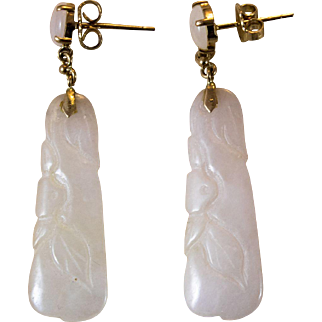 Vintage 14k White Jadeite Dangle Earrings from the 1920's