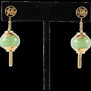 14k Gold Chinese Jadeite Dangle Lantern Earrings, Vintage