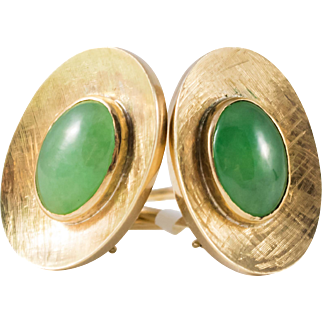 Vintage 14k Gold & Oval Jadeite Earrings with French Clips.