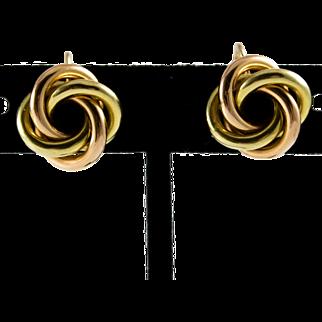 Tiffany & Co, 14K Rose & Green Gold Love Knot Earrings w/ Screw Backs, Boxed