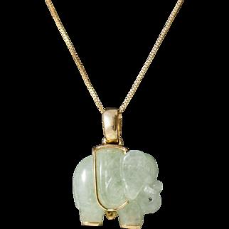 Vintage 14k Gold Jadeite Elephant Pendant Necklace