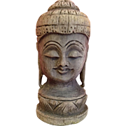 Vintage, hand carved wooden Buddha Bust..?