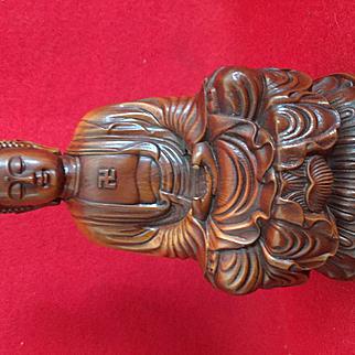 Sitting Buddha, Carved boxwood, beautifully  detailed ..