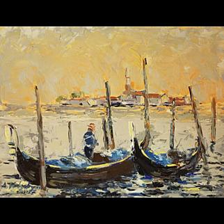 Venice, Gondolas at sunset. Ara Hakobyan Size: 9″ x 12″ (23 x 30.5 cm) Oil painting on canvas