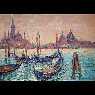 Venice at Sunset.  Ara Hakobyan 13.5 x 19.3 inch Oil painting on Card Board