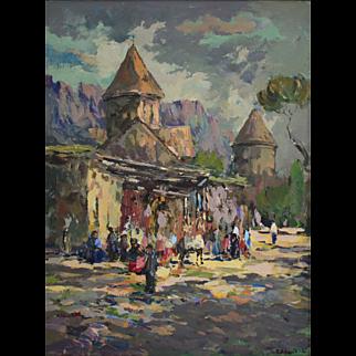 Haghartsin, Legendary Armenian Monastery of 13th century. Preserved under UNESCO heritage program. By Ara Hakobyan, 31.5 x 23.6 inch Oil painting on canvas