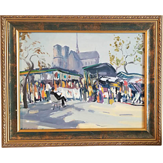Paris Montmarte Painting Sellers. Authentic Painting in impressionist style.  Ara Hakobyan Size: 11″ x 14″ (27.9 x 35.5 cm) Oil painting on canvas