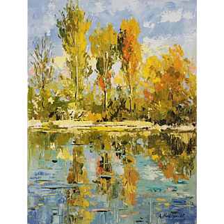 """Fall, reflection, By Ara Hakobyan 16"""" X 12"""" Oil painting on canvas"""