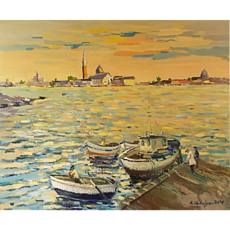 Venice, San Georgio Maggiore at sunset. Authentic Painting. One of Kind. By Ara Hakobyan 23.6 X 19.7