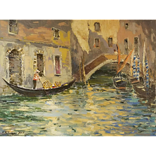 """Venice Old buildings at a canal of Fairy town. By Ara Hakobyan, 18"""" X 24"""" Authentic Oil Painting on Canvas"""